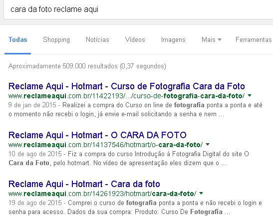 Pesquisa no Google sobre o curso Cara da Foto