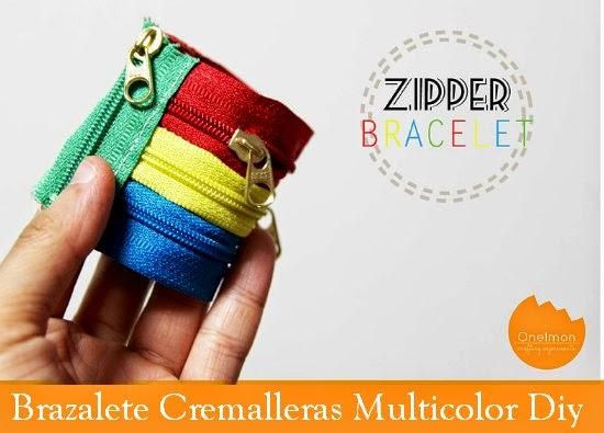 Brazalete de Cremalleras multicolor Diy