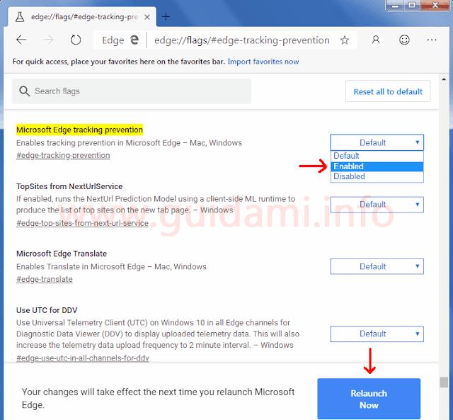 """Microsoft Edge schermata delle funzioni sperimentali """"flags"""""""