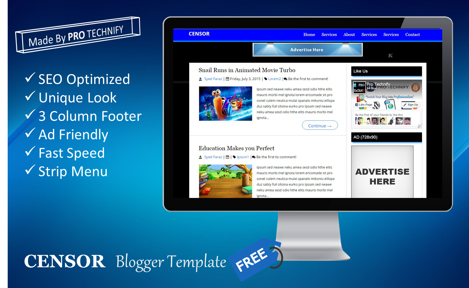 CENSOR SEO Friendly Blogger Template | PRO TECHNIFY