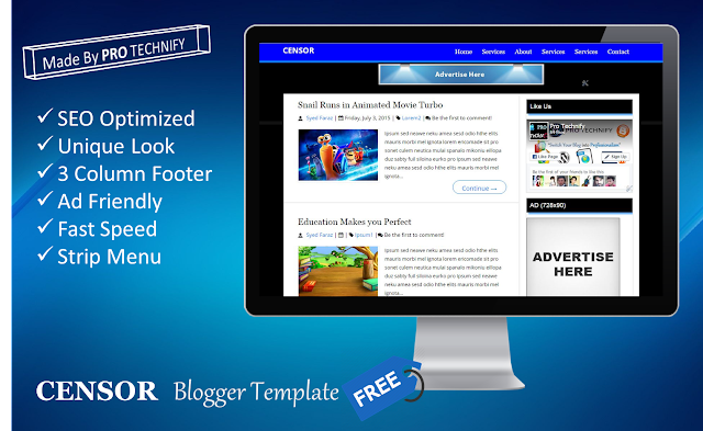 Censor blogger template, SEO friendly blogger template, ad friendly blogger template, fast blogger template
