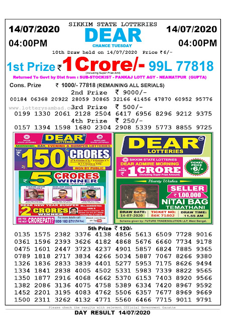 Sikkim State Lottery Sambad 14-07-2020 Today Result 4 PM