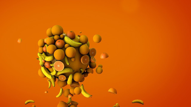 wallpaper orange bananas 3d