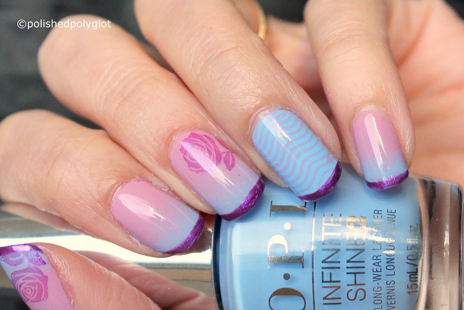 Nail Art │Blue, Pink and Purple Nail design [When Colors Collide ...