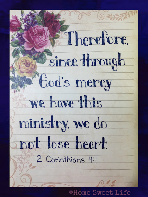 Scripture Writing, hand lettering, 2 Corinthians 4:1
