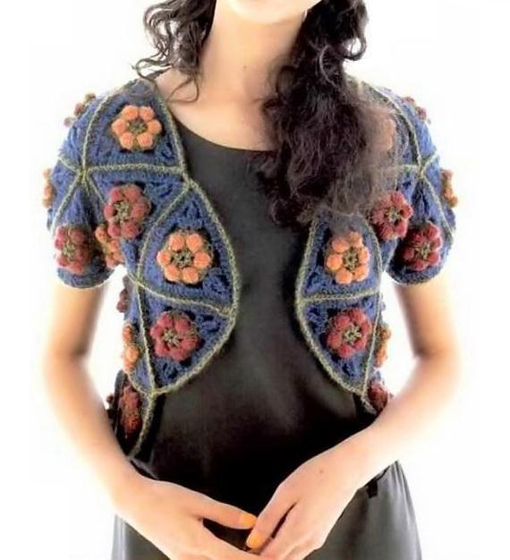 Crochet Bolero using 48 Triangular Motifs