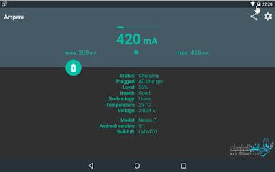تطبيق Ampere لمعرفة حالة البطارية