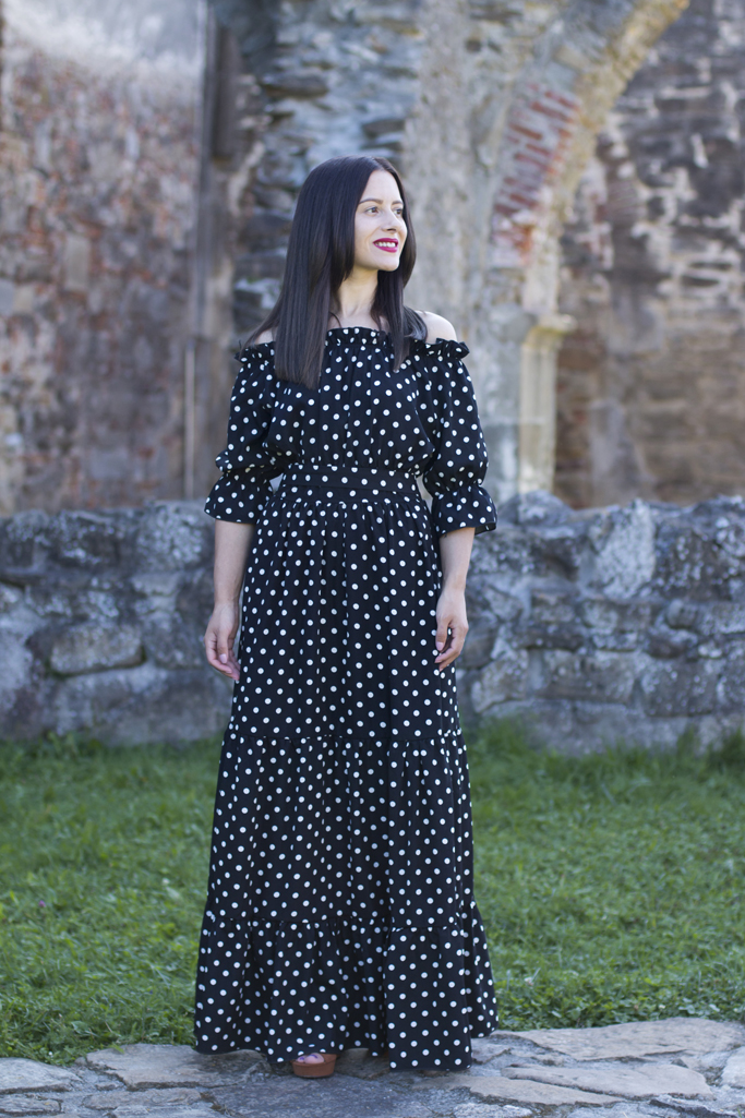 maxi dress with polka dots