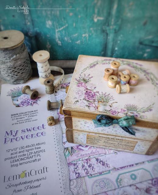 Lawendowy przybornik krawiecki oklejony papierami My sweet Provence od LemonCraft