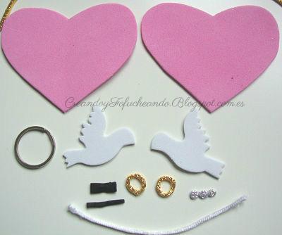 Materiales para el llavero de bodas