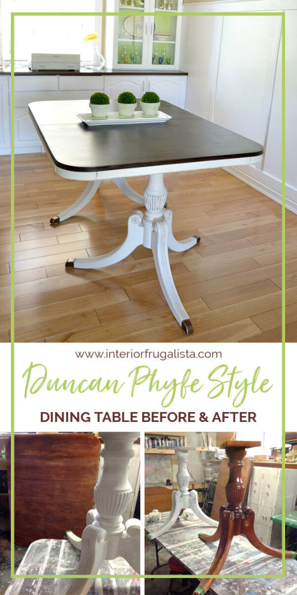 Duncan Phyfe Dining Table Makeover Before and After