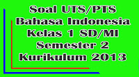 soal uts bahasa indonesia kelas 1 sd semester 2 kurikulum 2013