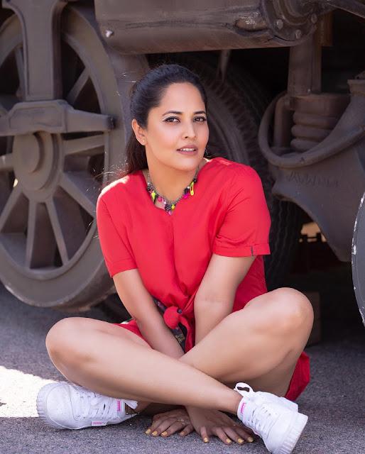 Actress Anasuya Bharadwaj Latest Images in Red Dress Actress Trend