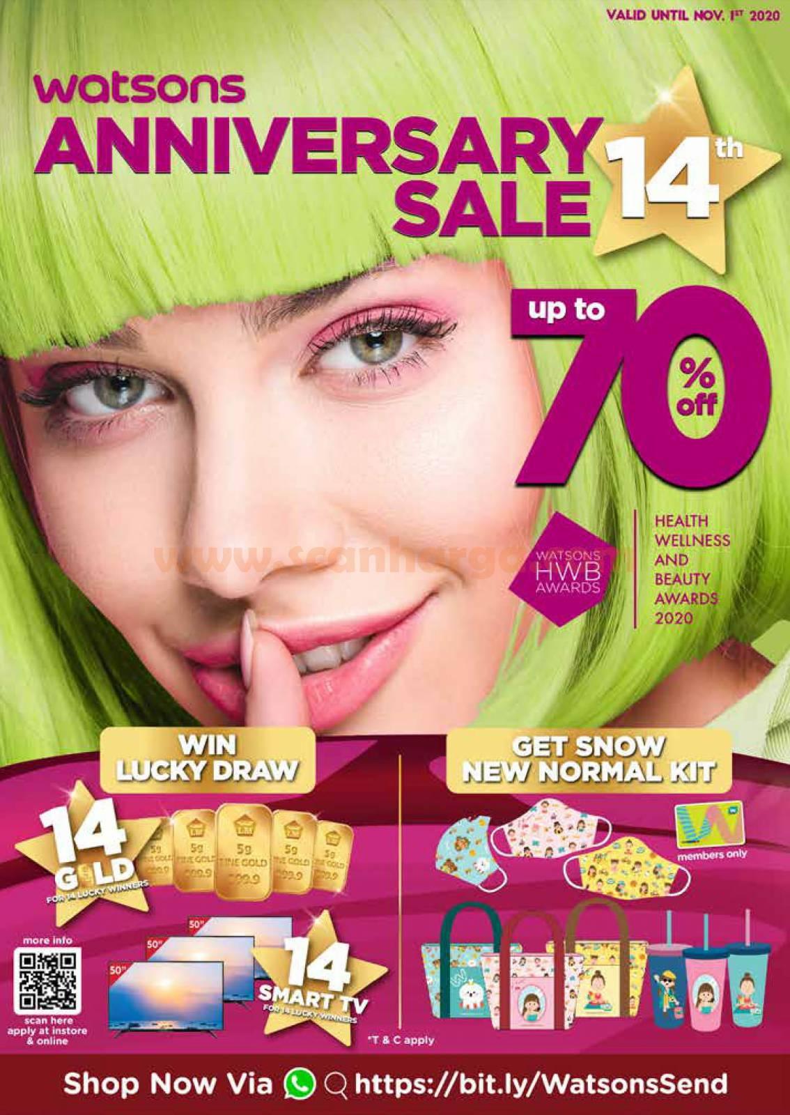 Katalog Promo Watsons 14th Anniversary Sale Up To 70% Off Oktober 2020