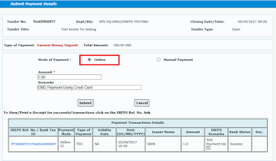 Works Tender TDC Payment Using Credit Card 21