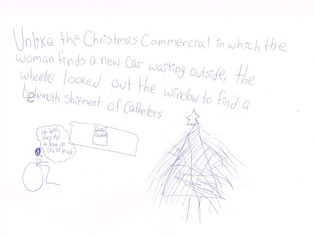 "A wheelchair user stick figure looks out the window by a Christmas tree and sees a large box with a bow from Coloplast, a catheter supplier. She says ""OK, well, they put a bow on it at least."""
