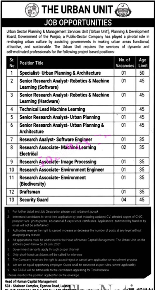 The Urban Unit Latest Jobs 2021 – Download Application Form www.urbanunit.gov.pk