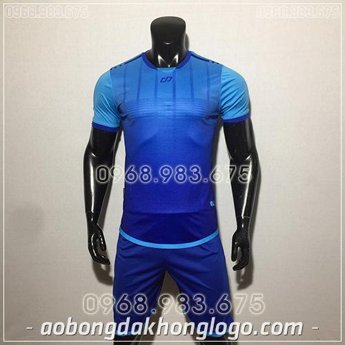 Áo bóng đá ko logo CP Combat màu xanh dương