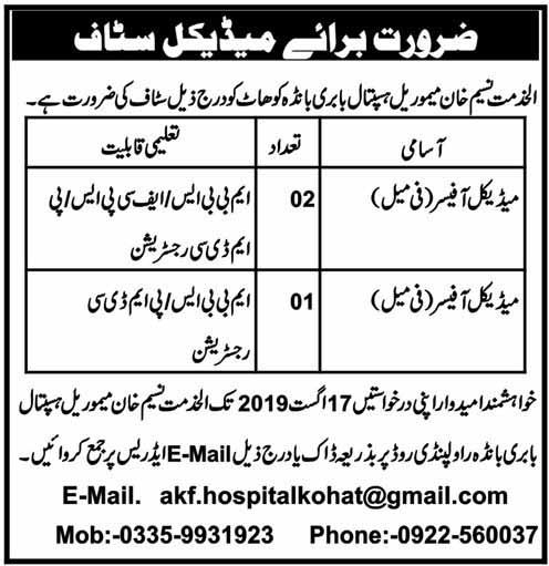 Latest Jobs in Al Khidmat Naseem Khan Memorial Hospital Kohat 16 August 2019