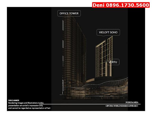 Jual Apartemen Surabaya, Kantor & Hunian, Langsung Akses Ke Mall, Deni 0896.1730.5600