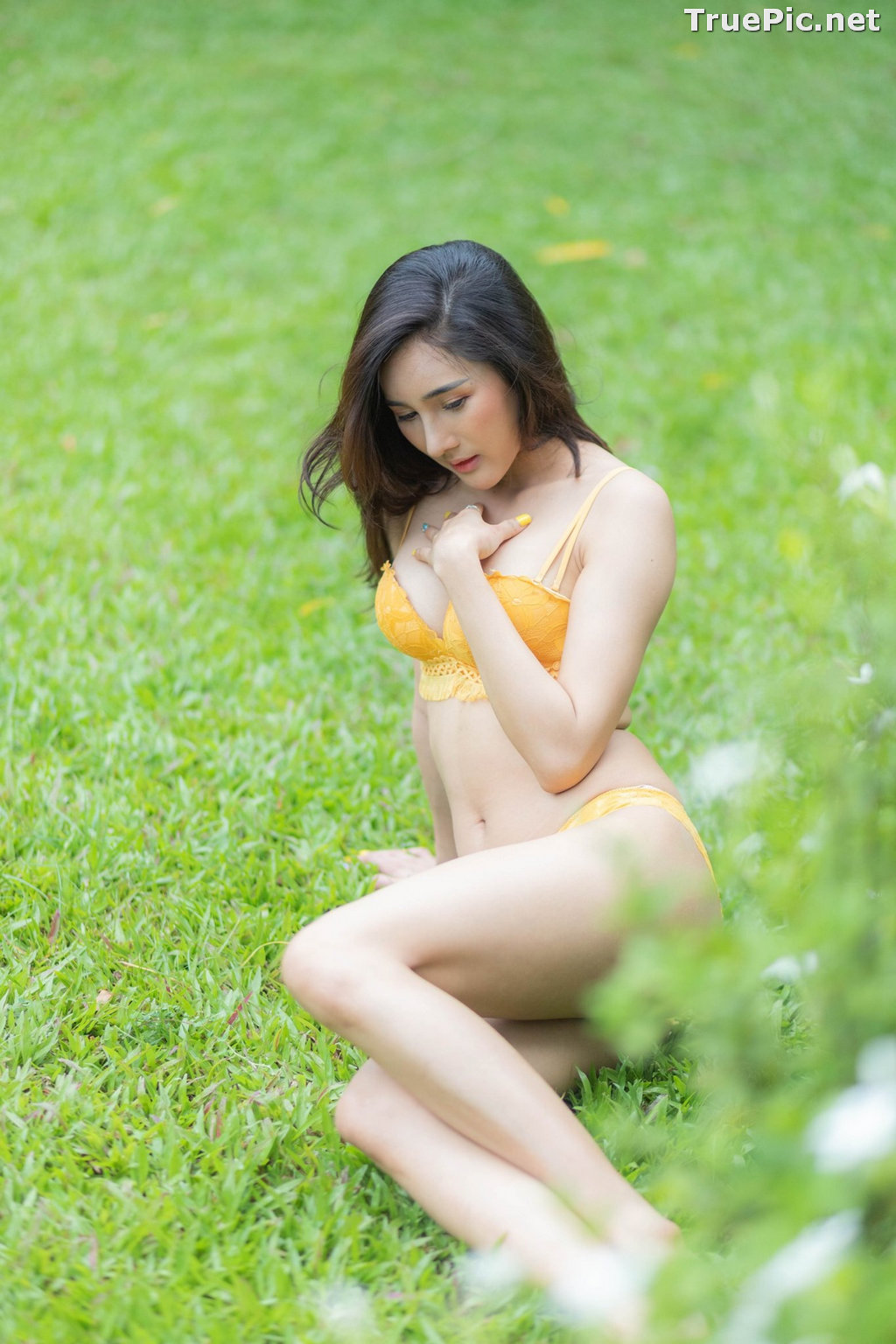 Image Thailand Model - ณัฐกนก สิทธิรัตน์ (Aomam) - Yellow and White Lingerie - TruePic.net - Picture-8