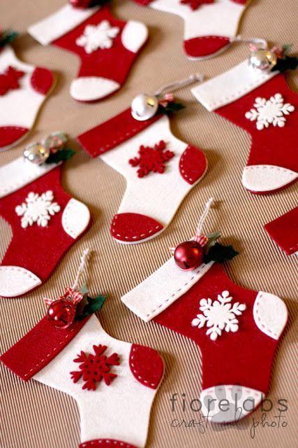 Meias natalinas para a decoração do Natal
