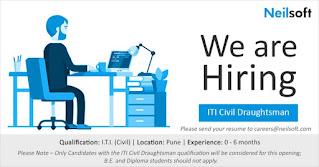 ITI Civil Draughtsman Fresher & Experienced Candidates Job Vacancy In Neilsoft Pvt Ltd  Pune, Maharashtra