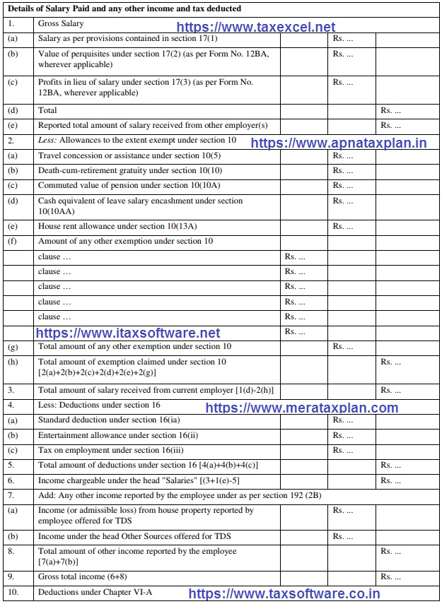 Download Automated Revised Excel Based Income Tax Salary Certificate Form 16 Part B for the F.Y. 2019-20
