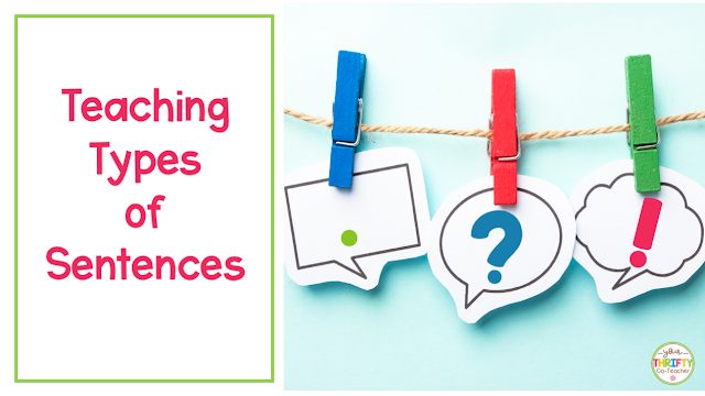 Types of sentences anchor charts and other tricks to help students learn to identify exclamatory, interrogative, imperative, & declarative sentences.