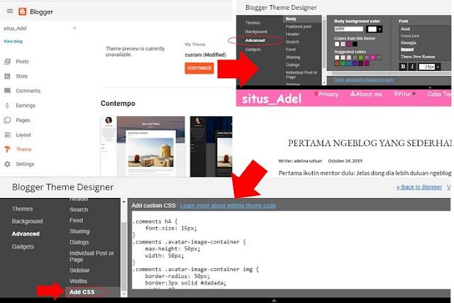 tampilan atau ilustrasi cara kustomisasi kotak komentar blogger