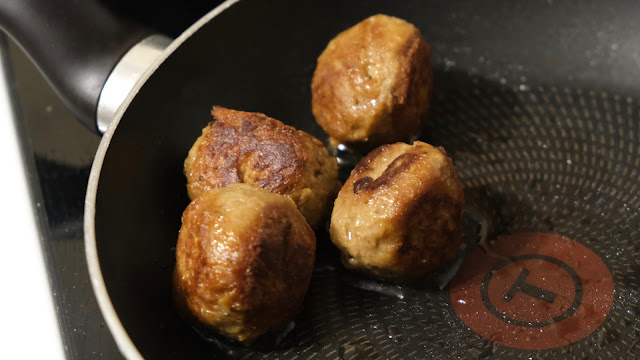 Plant Chef Meat Free Balls in a frying pan