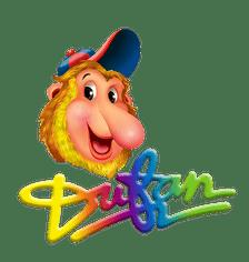 logo Dufan yang bergambar maskotnya, si monyet bekantan