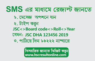JSC result 2019 Dhaka Board by SMS