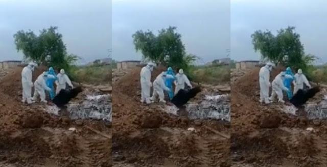 Jenazah Covid-19 di India Dilempar-lempar Petugas Saat Menguburkan