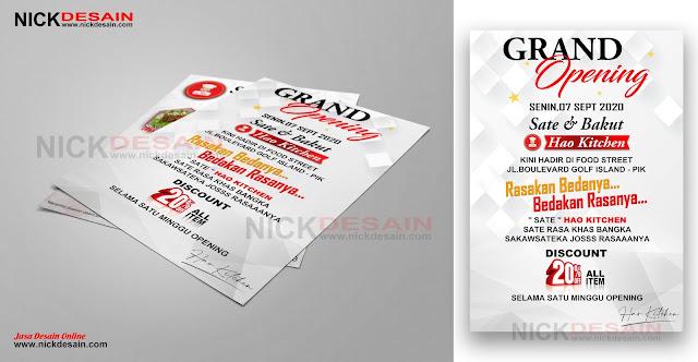 Contoh Desain Flayer - Brosur Grand Opening Sate resto | Percetakan Murah Nick Desain