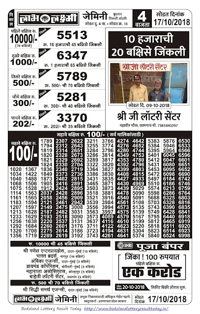 Labh Laxmi Lottery Result-17-10-2018