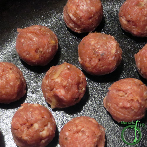 Morsels of Life - Asian Meatballs Step 4 - Form meat mixture into meatballs, then cook. I cooked these Asian meatballs in a pan. You could also bake or use a slow cooker.