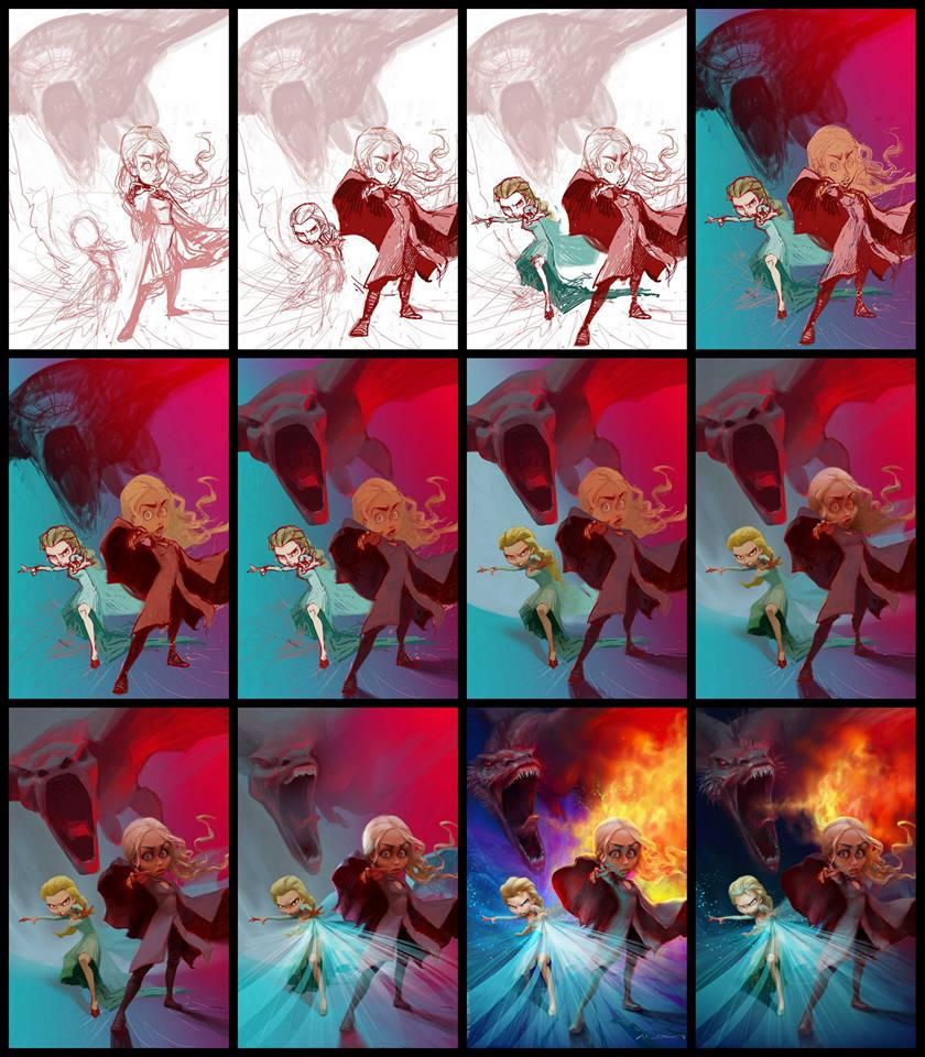 """Proceso caricatura """"Elsa - Frozen y Daenerys - Game of Thrones"""" por Xi Ding"""
