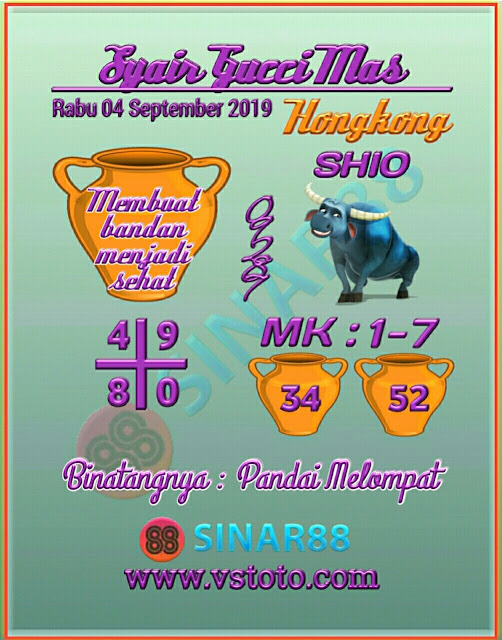 Syair Togel Hongkong Rabu 04 September 2019