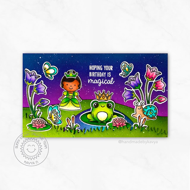 Sunny Studio Stamps: Feeling Froggy Country Scenes Garden Fairy Birthday Card by Kavya