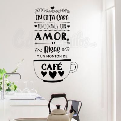 vinilo decorativo pared cocina frase cafe en esta casa