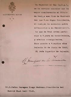 Hace cien años nuestro club recibió el titulo de Real