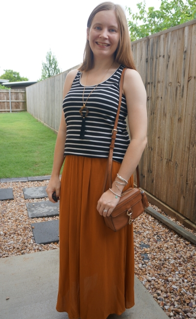 black and white striped tank with ochre tree of life maxi skirt crossbody bag | awayfromblue