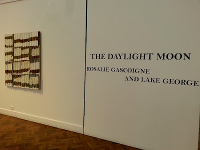 Entry sign for The Daylight Moon: an exhibition of Rosalie Gascoigne's  work, showing at Goulburn Regional Art Gallery.