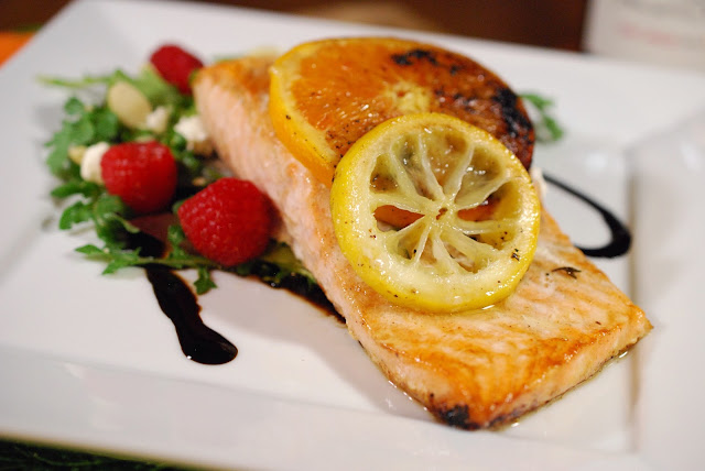 Roasted Citrus Salmon with Raspberry and Goat Cheese Salad; Photo Credit: Greg Hudson