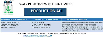 Lupin Limited - Walk-in interviews on 27th July, 2019 @ Ankleshwar