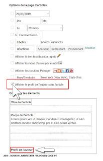 Activer l'option Profil de l'auteur via le panneau de configuration du gadget Blog