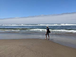 Walking on the beach near Pacific City Oregon, what you shouldn't do after an earthquake or after hearing a tsunami warning.