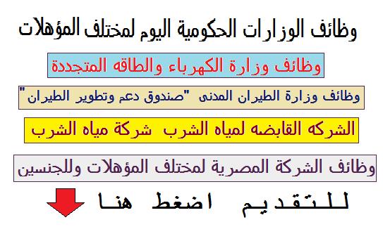 """وظائف الوزارات الحكومية لمختلف المؤهلات وللجنسين """" الكهرباء - مياة الشرب - الطيران - الشركة المصرية لمختلف المؤهلات """" اضغط للتقديم"""