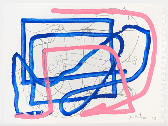 André Butzer untitled, 2019 Acrylic and pencil on paper 28.7 × 37.1 cm